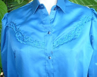 Vintage 70s Ladies Rockabilly Millie Western blue polyester shirt pearl snaps size large by JeansVintageCloset