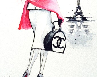 Paris Love Travel Watercolor Illustration - Print of Watercolor Painting Fashion - Lana Moes Art - Wanderlust Illustration