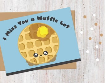 Miss you cards etsy i miss you card i miss you a waffle lot 100 recycled card m4hsunfo Images