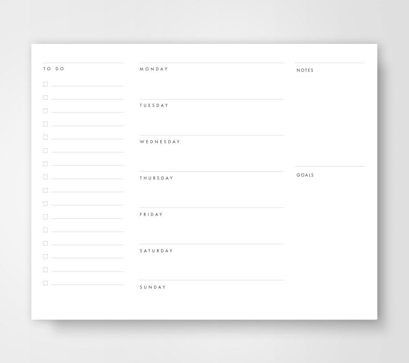 Weekly Calendar List : Weekly planner to do list calendar planners