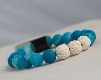Blue Agate and Lava Stone Essential Oil Diffuser Bracelet