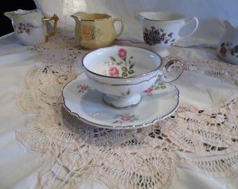 Vintage Floral Tea and Saucer