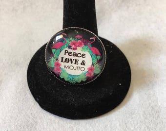 "Adjustable ring ""peace love and mojito"""