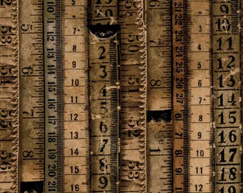 Dapper by Tim Holtz for Coats - Full or Half Yard Eclectic Elements Tape Measures Brown Vintage