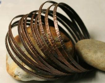 Stacking Bangle Bracelets , Bangle Set, Antique Copper Bangles, Hand Hammered Textured Bangles, Small to Medium, 2 pcs (item ID ACRN62)