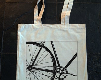 single speed bike,fixed gear,bicycle - Hand screen printed Cotton bag