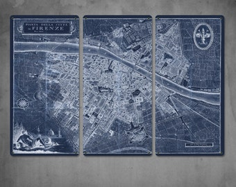 """Old Map of Florence METAL triptych 36x24"""" FREE SHIPPING"""