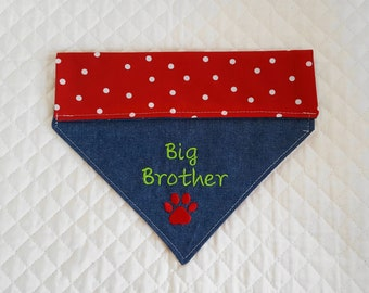 Big Brother Dog Bandana, X-Large Size, Clearance Priced, Denim.  Red with White Polka Dots,  Dogs, New Baby Announcement, Baby Shower Gift