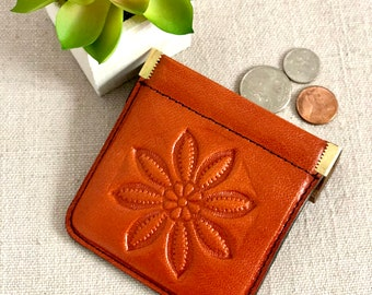 Bohemian Tanned Squeeze Coin Purse Women's Wallets Gift for wife Tanned Coin Purse Tooled Coin Purse Vintage Coins Purse Squeeze coin Purse
