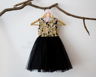 Gold Lace Sequin Black Tulle V Back Flower Girl Dress Wedding Bridesmaid Dress M0039