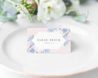 Hydrangea Wedding Place Cards Template // Floral Place Cards Wedding // Printable Place Cards Instant Download