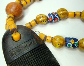 Remington Rifle Butt Plate Pendant Necklace, African Glass Krobo Beads, Ceramic Melons, Yellow Recycled Glass, OOAK by Rachelle Starr
