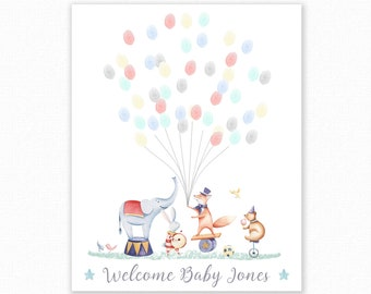 Baby Shower Fingerprint Guest Book - Circus Baby Shower - Personalized Alternative Guest Book - Fingerprint Tree - Watercolor Circus