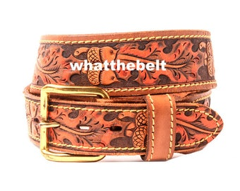 Vintage Belt Brown Embossed Acorn Orange Leaves Leaves Tooled Belt Hand Painted 34 Medium