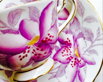 Royal Chelsea Purple Clematis Tea Cup and Saucer
