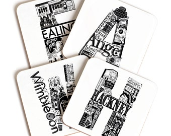 London Letter Area Coaster - House warming present - London gift