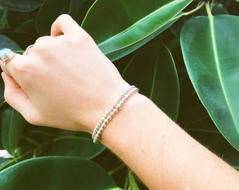 The Sterling Silver Set | Sterling Silver Beaded Stretch Bracelets | Stack Bracelets | Set of 2