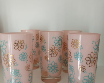 Vintage Pink Frosted Highball Glasses