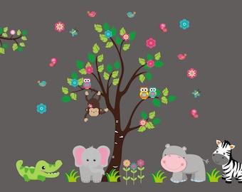 "Nursery Decals Girls - Nursery Wall Decals - Nursery Decal - Wall Decal Girls - Jungle Wall Stickers - Babies Wall Stickers - 88"" x 138"""
