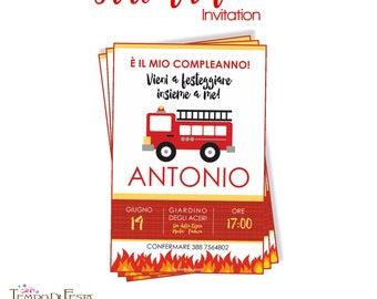 Fireman printable invitation