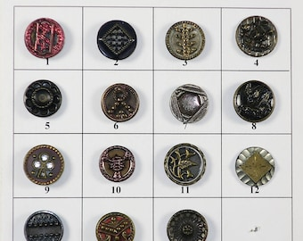 "Antique Metal Buttons - 1/2"" to 9/16"" in size - Board 3"