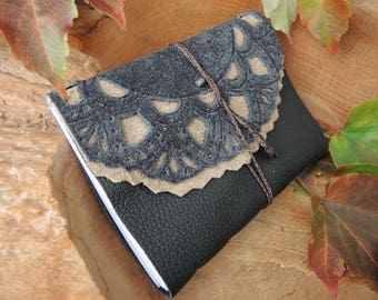Leather-Notebook A6 Dark Blue and Grey, Diary, Travel Book, Sketchbook