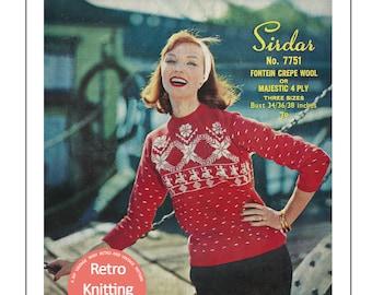 1950's Lady's Nordic Fair Isle Sweater Knitting Pattern - PDF Knitting Pattern - Rockabilly
