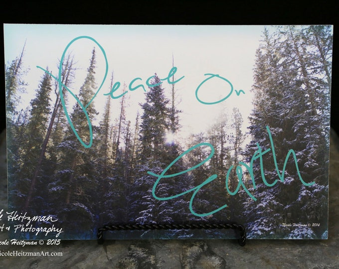 Peace on Earth Photo Winter Photo Snow Photography Black Hills Nature photo Nature saying Nature print Snowy Tree Photo by Nicole Heitzman