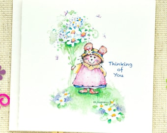 """Thinking of You card, Cute Thinking of You Card, Mouse with Bouquet Card, Cute Missing you card, Cute """"Hello"""" Card"""
