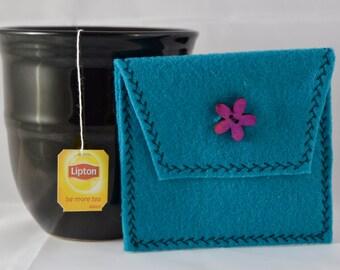 Teal Tea Tote, Reusable Tea Pouch, Tea Bag Carrier, Tea Wallet,  Felt Envelope, Tea Bag Pouch, Tea Accessory, Mother's Day Gift