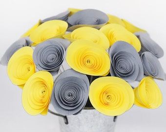 Yellow and Gray Elephant Baby Shower- 21 Pale Yellow & Grey Paper Flowers, Gray and Yellow Nursery Decor, Gender Neutral Baby Shower Decor