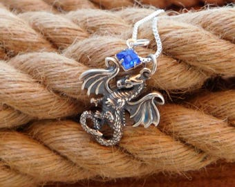 Sterling silver dragon necklace,
