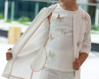 Girls white jacquard cotton suit/ Kids occasional clothes/ White summer suit/ Summer clothes/ White suit wedding outfits/ Stylish outfit