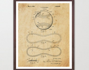 Baseball Art - Baseball Poster  - Baseball Print - Baseball Decor - Patent Print - Patent Poster - Baseball Wall Art ball