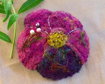 BROOCH - Felted Pansy Flower Pin - Felt Brooch - Scarf Pin - Mother's Day Gift - Pincushion - Australian Seller