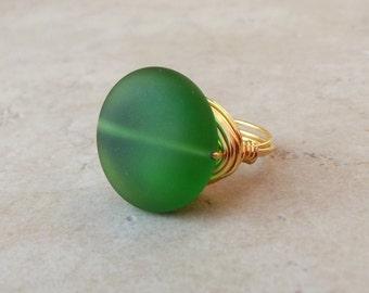 Dark Green Sea Glass Ring:  24K Gold Wire Wrapped Beach Jewelry, Emerald Cruise Resort Wear Accessory
