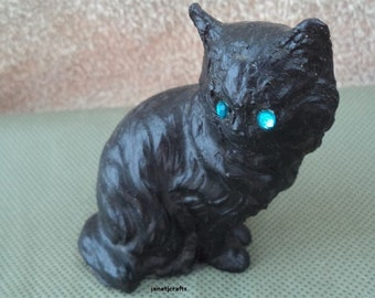 Coal figurine ,Cat coal figurine ,1980's figurine ,Stocking stuffer ,Lump of coal