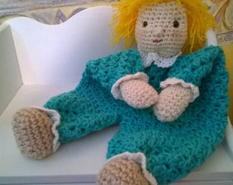 blanket crocheted in Mercerized cotton emerald green and red hair