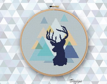 Abstract Pattern Modern Cross Stitch Design Pattern Deer Counted Cross Stitch Art Patterns Geometric Forest Deer PDF Instant Download