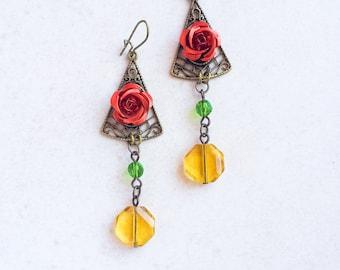 Mexican Flower Beaded Earrings, Red Green Yellow Earrings, Flamenco Flower Spanish Earrings