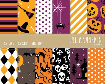 Halloween Witch Digital Paper Set - Instant Download - Personal and Commercial Use - Scrapbooking