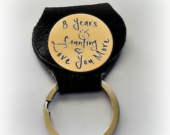 8 Year Anniversary Golf Marker in Leather Keychain Case, Bronze 8th Anniversary Gift, Hand Stamped Golf Accessories, Custom-Stamped for Him