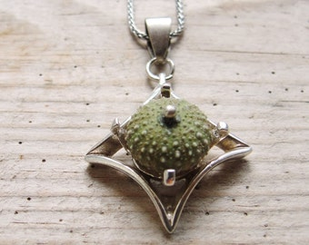 Art Deco Necklace, Green Sea Urchin Sterling Silver Necklace, Beach Jewelry