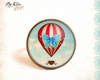 Fancy • Red • Balloon fly sky blue white cloud glass Cabochon ring