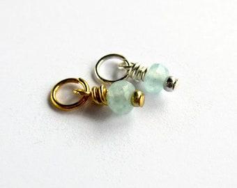 Genuine Aquamarine Charm - March Birthstone Gemstone Charm - Tiny Dangle Charm - Sterling Silver or 14K Gold Filled - 4mm x 10mm