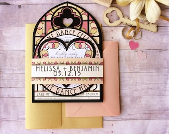 Stain Glass Window Inspired Wedding Invitation Bundled Suite - for Traditional, Religious, Gothic or Fairy Tale Ceremony or Vow Renewal