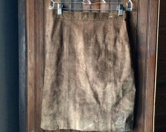 Brown Suede Skirt Small Miniskirt 3 4 26 Equestrian Distressed Boho 1980s Leather Skirt