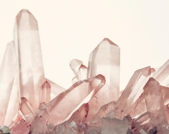 Pink Quartz; fine art photography, modern art, wall art,  she shed art, crystal art, mineral art, pink art, pastel art, by F2images