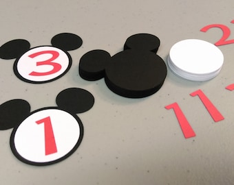 30 Mick Mouse Heads With Number, DIY Cupcake Toppers, Birthday Party Decorations