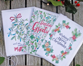Mixed Set of Printed A6 Christmas Cards with Envelopes
